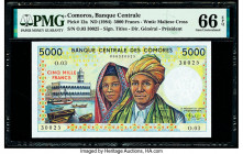 Comoros Banque Centrale Des Comores 5000 Francs ND (1984) Pick 12a PMG Gem Uncirculated 66 EPQ.   HID09801242017  © 2020 Heritage Auctions | All Right...