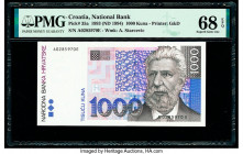 Croatia National Bank of Croatia 1000 Kuna 1993 (ND 1994) Pick 35a PMG Superb Gem Unc 68 EPQ.   HID09801242017  © 2020 Heritage Auctions | All Rights ...