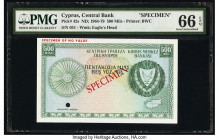 Cyprus Central Bank of Cyprus 500 Mils ND (1964-79) Pick 42s Specimen PMG Gem Uncirculated 66 EPQ. Red Specimen overprints and one POC.  HID0980124201...