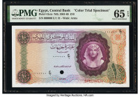 Egypt Central Bank of Egypt 10 Pounds 1961-65 Pick 41cts Color Trial Specimen PMG Gem Uncirculated 65 EPQ. Red Specimen overprints and one POC.  HID09...