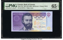 Estonia Bank of Estonia 500 Krooni 1991 (ND 1992) Pick 75a PMG Gem Uncirculated 65 EPQ.   HID09801242017  © 2020 Heritage Auctions | All Rights Reserv...