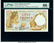 France Banque de France 100; 20; 200 Francs 1941; 1993; 1983 Pick 94; 151g; 155a Three Examples PMG Gem Uncirculated 66 EPQ (2); Superb Gem Unc 68 EPQ...