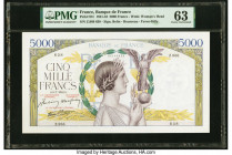 France Banque de France 5000 Francs 9.7.1942 Pick 97c PMG Choice Uncirculated 63. Staple holes.  HID09801242017  © 2020 Heritage Auctions | All Rights...