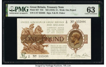 Great Britain Bank of England 1 Pound ND (1919) Pick 357 PMG Choice Uncirculated 63. Minor rust.   HID09801242017  © 2020 Heritage Auctions | All Righ...