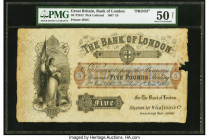 Great Britain Bank of London 5 Pounds 1.1.1867 Pick UNL OUT2812 Proof PMG About Uncirculated 50 Net. A rare proof printed by Bradbury Wilkinson & Co. ...