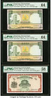 Hong Kong Chartered Bank 10 Dollars ND (1962-1975) Pick 74b (2); 70c Three Examples PMG Choice Uncirculated 64; Choice About Uncirculated 58.   HID098...