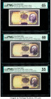 Iran Bank Melli 10 Rials ND (1937; 1938; 1936) Pick 33a; 33Aa; 33Ab Three Examples PMG Choice Extremely Fine 45; Extremely Fine 40; Choice Very Fine 3...