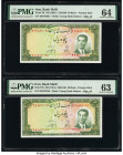 Iran Bank Melli 50 Rials ND (1951) / SH1330 Pick 56 Two Consecutive Examples PMG Choice Uncirculated 64; Choice Uncirculated 63. Minor thinning on one...