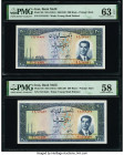 Iran Bank Melli 200 Rials ND (1951) / SH1330 Pick 58 Two Consecutive Examples PMG Choice Uncirculated 63 EPQ; Choice About Unc 58.   HID09801242017  ©...