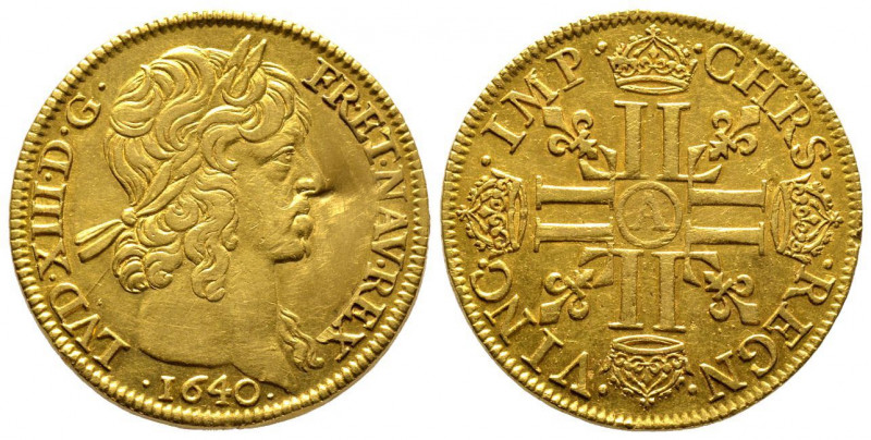 Louis XIII 1610-1643 Double louis d'or, 2ème type mèche courte sans baies Paris,...