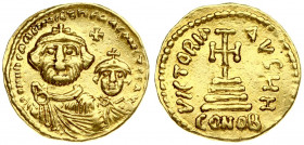 Byzantine Empire 1 Solidus Heraclius and Heraclius Constantine (613-641). Averse: Facing busts of Heraclius; with moustache; short beard and tufts of ...