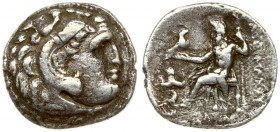 Greece Thrace 1 Drachma Lysimachos 301-297 BC. Kolophon. Head of Herakles right wearing lion skin headdress / Zeus Aetophoros seated left; in left fie...