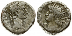 Roman Empire 1 Tetradrachma Nero (54-68 AD) Divus Augustus. Egypt Alexandria. Dated RY 13 (= 66/67). Averse: Radiate bust of Nero to left wearing aegi...