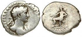Roman Empire 1 Denarius 117 Hadrianus AD 117-138. Rome AD 117 Av: Laurel bust to the right with much of the torso visible and draped over the left sho...