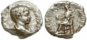 Roman Empire 1 Denarius Caracalla AD 198-217. Roma. 196 AD. M AVR ANTON - CAES PONTIF. Bust with paludament and armor on the right. SECVRITAS PVBLICA ...