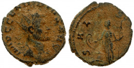 Roman Empire 1 Antoninianus Claudius II Gothicus. A.D. 268-270. Antioch mint.. IMP C CLAVDIVS AVG radiate draped and cuirassed bust right / SALVS AVG ...