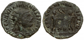 Roman Empire 1 Follis Maximianus Herculius AD 286-305. Cyzicus Follis IMP C M A MAXIMIANVS P F AVG radiate draped and cuirassed bust right / CONCORDIA...