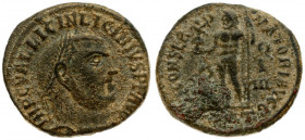 Roman Empire 1 Nummus Licinius I 308-324. Antioch. AD 313-4. IMP C VAL LICIN LICINIVS P F AVG laureate head right / IOVI CONSERVATORI AVGG Jupiter sta...
