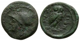 Bruttium. The Brettii circa 215-205 BC. Reduced 1/6th Uncia AE