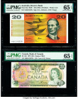 Australia Reserve Bank 20 Dollars ND (1985) Pick 46e PMG Gem Uncirculated 65 EPQ; Canada Bank of Canada $20 1979 BC-54b PMG Gem Uncirculated 65 EPQ.  ...