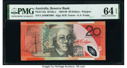 Australia Australia Reserve Bank 20 Dollars 1994-96 Pick 53a R416 PMG Choice Uncirculated 64 EPQ; Tonga Government of Tonga 10 Shillings 3.11.1966 Pic...