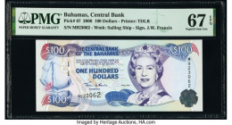 Bahamas Central Bank 100 Dollars 2000 Pick 67 PMG Superb Gem Unc 67 EPQ.   HID09801242017  © 2020 Heritage Auctions | All Rights Reserved