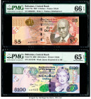Bahamas Central Bank 5; 100 Dollars 2007; 2009 Pick 72a; 76 Two Examples PMG Gem Uncirculated 66 EPQ; Gem Uncirculated 65 EPQ.   HID09801242017  © 202...