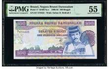 Brunei Negara Brunei Darussalam 100 Ringgit 1989 Pick 17 KNB17 PMG About Uncirculated 55.   HID09801242017  © 2020 Heritage Auctions | All Rights Rese...