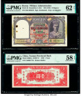 Burma Military Administration 10 Rupees ND (1945) Pick 28 PMG Uncirculated 62 Net; China Yunnan Provincial Bank 1 Yuan 1949 Pick S3024a PMG Choice Abo...
