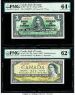 Canada Bank of Canada $1; 20 2.1.1937; 1954 BC-21d; BC-41b Two Examples PMG Choice Uncirculated 64 EPQ; Uncirculated 62 EPQ.   HID09801242017  © 2020 ...