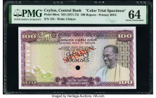 Ceylon Central Bank of Ceylon 100 Rupees ND (1971-75) Pick 80cts Color Trial Specimen PMG Choice Uncirculated 64. Previously mounted, one POC.  HID098...
