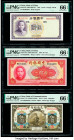 China Bank of China (2); Bank of Communications 5 (2); 10 Yuan 1937; 1940; 1914 Pick 80; 85b; 117n Three Examples PMG Gem Uncirculated 66 EPQ (3).   H...
