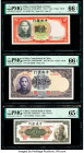 China Central Bank of China 1; 50; 10 Yuan 1936; 1944; 1945 Pick 212a; 255; 390 Three Examples PMG Gem Uncirculated 66 EPQ (2); Gem Uncirculated 65 EP...