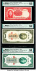 China Central Bank of China 500 Yuan; 10; 20 Customs Gold Units 1944; 1930 (2) Pick 264; 327d; 328 Three Examples PMG Gem Uncirculated 65 EPQ (2); Cho...