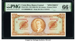 Costa Rica Banco Central de Costa Rica 20 Colones ND (1964-70) Pick 231s Specimen PMG Gem Uncirculated 66 EPQ. Red Muestra overprints.  HID09801242017...