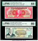 Costa Rica Banco Central de Costa Rica 2; 100 Colones 5.12.1967; 12.6.1974 Pick 235; 240a Two Examples PMG Choice Uncirculated 64 EPQ; Gem Uncirculate...