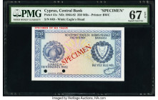 Cyprus Central Bank of Cyprus 250 Mils 1960 (ND 1964-82) Pick 41s Specimen PMG Superb Gem Unc 67 EPQ. Red Specimen overprints and two POCs.  HID098012...