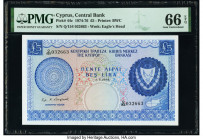 Cyprus Central Bank of Cyprus 5 Pounds 1.7.1975 Pick 44c PMG Gem Uncirculated 66 EPQ.   HID09801242017  © 2020 Heritage Auctions | All Rights Reserved...