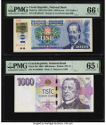 Czech Republic Czech National Bank 1000 Korun 1985 (ND 1993); 2008 Pick 3a; 25b Two Examples PMG Gem Uncirculated 66 EPQ; Gem Uncirculated 65 EPQ.   H...