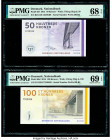 Denmark National Bank 50; 100 Kroner 2013; 2015 Pick 65f; 66d Two Examples PMG Superb Gem Unc 68 EPQ; Superb Gem Unc 69 EPQ.   HID09801242017  © 2020 ...