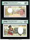 Djibouti Banque Nationale de Djibouti 5000; 10,000 Francs ND (1979; 1984) Pick 38d; 39b Two Examples PMG Superb Gem Unc 67 EPQ (2).   HID09801242017  ...