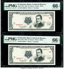 El Salvador Banco Central de Reserva de El Salvador 10 Colones 1988 Pick 135b Two Consecutive Examples PMG Gem Uncirculated 66 EPQ (2).   HID098012420...