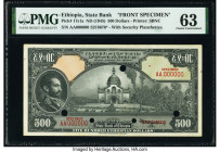 Ethiopia State Bank of Ethiopia 500 Dollars ND (1945) Pick 17s1a; 17s1b Front and Back Specimen PMG Choice Uncirculated 63 (2). Red Specimen overprint...