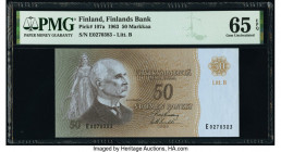 Finland Finlands Bank 50; 500 Markkaa 1963; 1986 (ND 1991) Pick 107a; 120 Two Examples PMG Gem Uncirculated 65 EPQ; Gem Uncirculated 66 EPQ.   HID0980...
