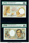 France Banque de France 100; 200 Francs 9.1.1941; 1983 Pick 94; 155a Two Examples PMG Gem Uncirculated 66 EPQ; Superb Gem Unc 68 EPQ.   HID09801242017...