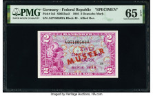 Germany Federal Republic U.S. Army Command 2 Deutsche Mark 1948 Pick 3s2 Specimen PMG Gem Uncirculated 65 EPQ. Red Muster overprints.  HID09801242017 ...