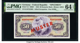 Germany Federal Republic U.S. Army Command 50 Deutsche Mark 1948 Pick 7s1 Specimen PMG Choice Uncirculated 64 EPQ. Red Muster overprints.  HID09801242...