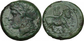 Greek Italy. Samnium, Southern Latium and Northern Campania, Cales. AE 20 mm, 265-240 BC. Obv. Head of Apollo left, laureate. Rev. Man-headed bull rig...