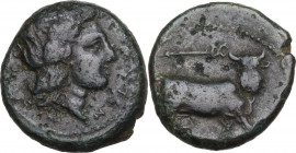 Greek Italy. Central and Southern Campania, Neapolis. AE 17 mm, 300-275 BC. Obv. Head of Apollo right, laureate. Rev. Man-headed bull right, head faci...