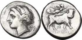 Greek Italy. Central and Southern Campania, Neapolis. AR Didrachm, 275-250 BC. Obv. Head of nymph left; behind, star. Rev. Man-headed bull right, head...